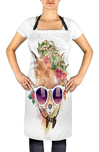 Timingila Weiß Tier Blumenkranz, Sonnenbrille & Fuchs Unisex Kochschürze gedruckt Koch BBQ Lätzchen 24 x 32 Zoll