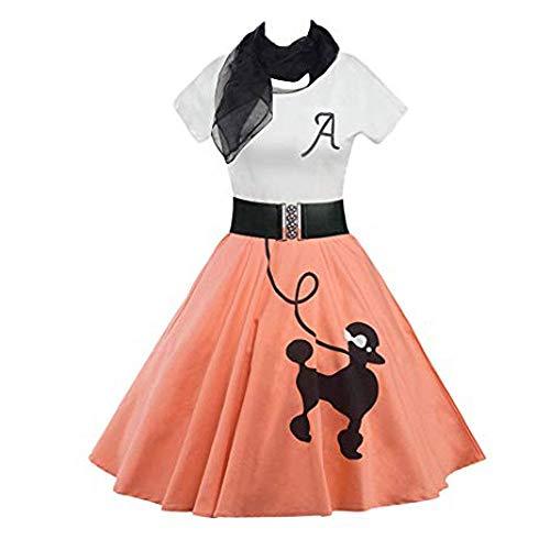 Damen Kleider Pudel Gedruck Patchwork Tee Kleider Skaterkleid Vintage Rockabilly Cocktailkleid A-Line Kleid mit Schal Gürtel Minikleid Swing-Kleid Festlich ()