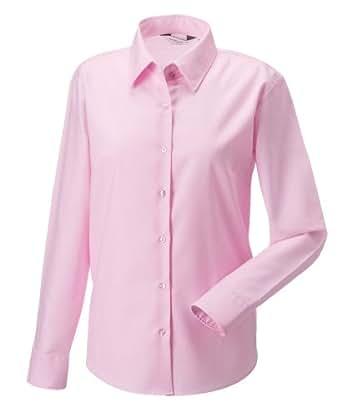 Russell Collection Women Langarm Oxford Hemd Klassisches rosa 5XL