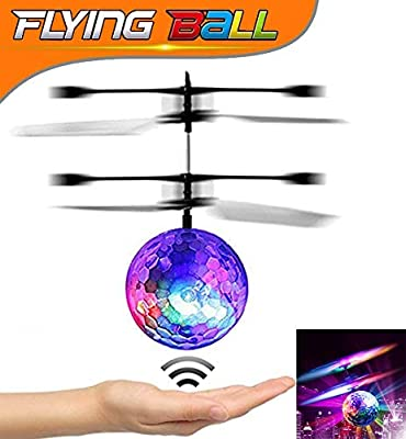 U-MISS RC Flying Ball, Crystal Flashing LED Light Flying Ball RC Toy RC Infrared Induction Helicopter for Kids, Teenagers Colorful Flying Ball for Kid's Toy