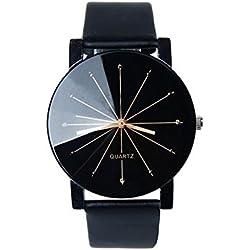 TOWEAR Fashion Luxury Men Quartz Dial Clock Leather Wrist Watch Black
