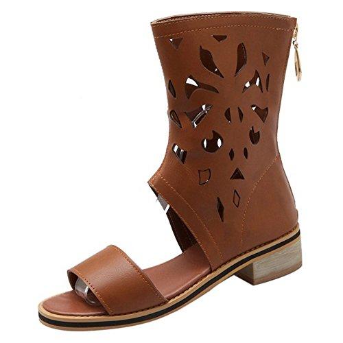 COOLCEPT Femmes Mode Ankle Wrap Sandales Orteil ouvert Talon bas Chaussures With Fermeture eclair Jaune