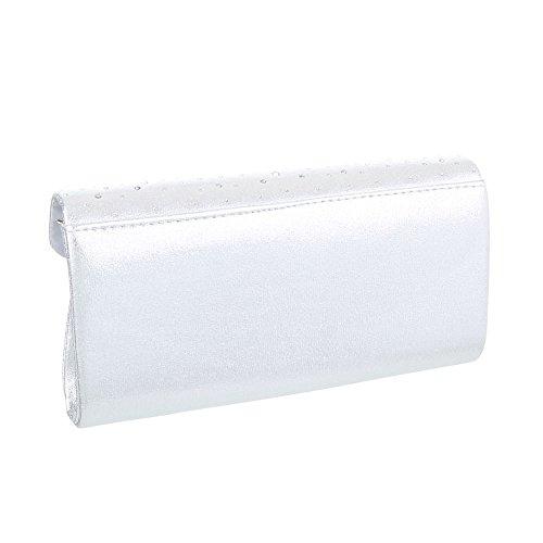 iTal-dEsiGn Damentasche Kleine Abendtasche Clutch Schultertasche Synthetik TA-HD531 Silber