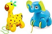 Giggles Nico The Giraffe, Yellow & Giggles Alphy The Elep