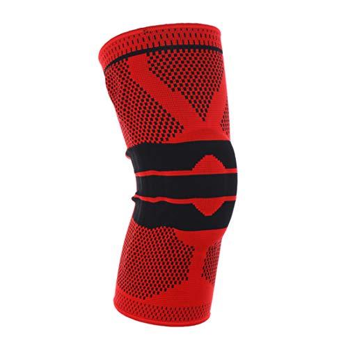 VIVOSUN Unisex Kniebandage mit Silikon gepolstert Knieschützer Knieschoner Knie Sleeve für Klettern Jogging Volleyball Radsport Knieverletzung für Männer Frauen 1 Stück XL Rot