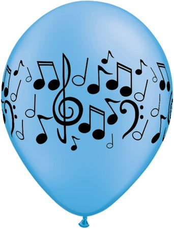 Unbekannt Qualatex 114.973,1cm rund neon Auswahl Musik Noten Wrap Latex Luftballons, 27,9cm, 25-teilig (Musik Noten Neon)