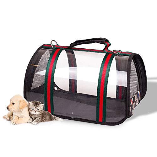 Wjdm pet carrier bag sacchetti di cane per i piccoli cani gatti zaino eco-friendly impermeabile antivento trasparente sacchetto di corsa del cane verde-rosso 43 x 25 cm