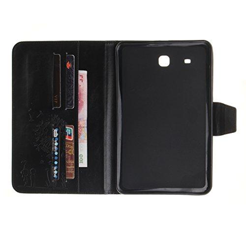 Coque Samsung Galaxy Tab E 9.6 T560 à Rabat avec Support,Samsung Galaxy Tab E 9.6 Étui Housse,Ekakashop Jolie Motif Couple de Pissenlit Rouge PU Cuir Protecteur Shell Tablette Couverture Filp Case Sta Noir