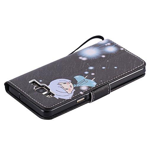 Coque pour Samsung Galaxy A5 (Pas pour A5 2016), Etui pour Samsung Galaxy A5, ISAKEN Peinture Style PU Cuir Flip Magnétique Portefeuille Etui Housse de Protection Coque Étui Case Cover avec Portable D Pissenlit Fille