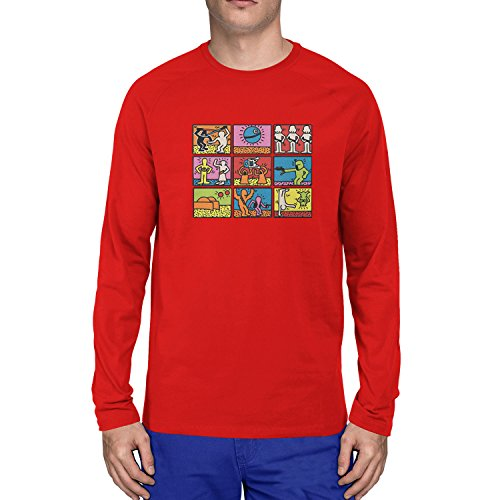 Planet Nerd - Star Art - Herren Langarm T-Shirt Rot