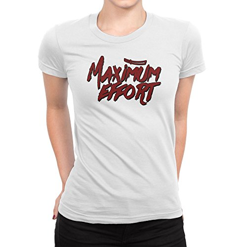 (Maximum Effort Slogan Damen V-Neck T-Shirt L)