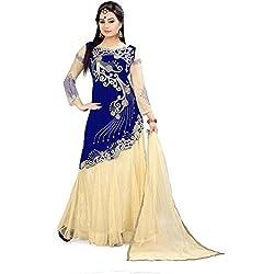 TexStile Womens Velvet & Net Semi-Stitched Lehenga Choli(LAA_New Blue_Zoya_Lehenga Choli)