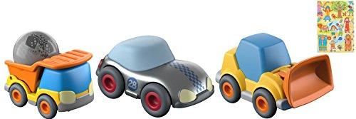 (Küllerbü Flotte Flitzer 3-er Set Baustellenfahrzeuge Radlader mit Holzkugel, Bagger und silberner Flitzer)
