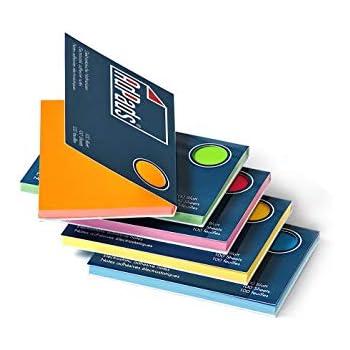 Bunt AdPads/® elektrostatisch selbstklebende Haftnotizen Rainbow Edition Mixed Static Sticky Notes 100 x 68mm Beweglich und verschiebbar auf jeder Oberfl/äche 200 Blatt