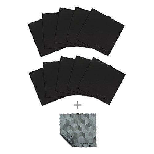 Preisvergleich Produktbild 10x POLYCLEAN Mikrofaser-Reinigungstücher / Brillen-Putztuch für Glas, Brille, Handy, Tablet, Laptop und Co.,  aus Microfaser P-9000® HD (schwarz, 17,5 x 17,5 cm, 10 Stück + 1 GripCloths-Zugabe)