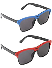 Stol'n Kids Wayfarer Sunglasses Combo Pack Of 2 Pieces For Boys And Girls/Unisex/Blue And Black/Red And Black/...