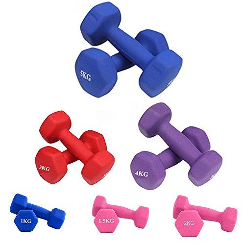 SAILUN 2er Set Gymnastik Hantel Hexagon Aerobic Kurzhanteln Neopren Gewichts 1/1.5/2/2.5/3/4/5 Kg Farbvarianten Blau Rot Pink Lila