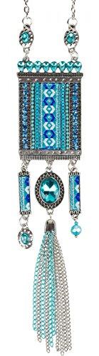 styleBREAKER Collana in stile etnico con strass, catena, perle e tessuto etnico, da donna 05030016, colore:Turchese