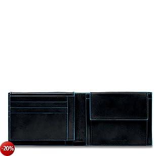 Piquadro Blue Square Portamonete con 7 Alloggiamenti per Carte di Credito,  12 cm, 0.43 litri, Nero