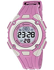 Montre digital Femme / Enfant - bracelet Plastique Rose - Cadran Rond Fond Gris et Rose - Marque Mingrui - MR8548