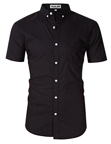 Kuulee Herren Hemd Slim Fit Langarmhemd - Baumwolle/Denim (Jeanshemd) - Für Anzug, Business, Freizeit Schwarz-2 Kurzarm S (Baumwolle Kurzarm-anzug)