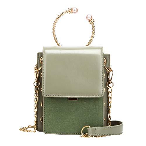 en Umhängetasche Handtasche Messenger Bag 2 way Schwarz Weiß Stylisch Einfach Design mit Perlen und Nieten Dekoration ()