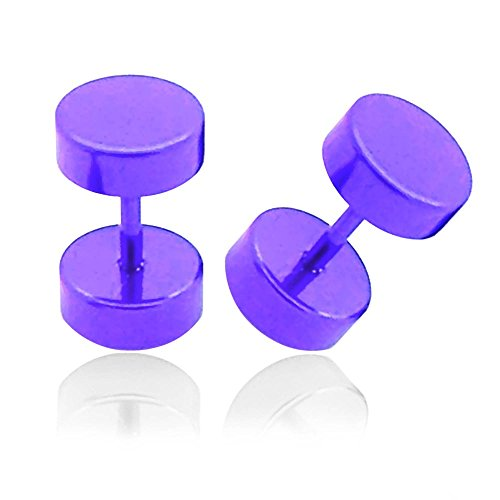 1 Paire Faux Plugs Piercings D´Oreilles Lilas Fake Plug Tunnel Homme Femme Acier Inoxydable Expander Cheaters lila / purple / lilas - 6mm