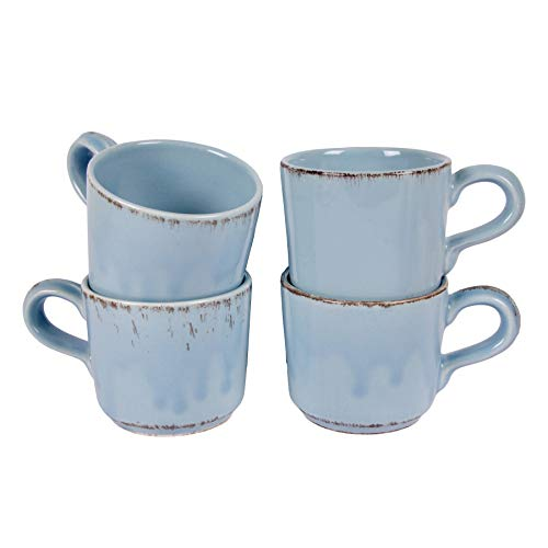Gina Da Tasse Kaffeebecher Geschirr Blau Rosa Weiß Landhaus 200ml - Serie Tosca (Blau [4er-Set])