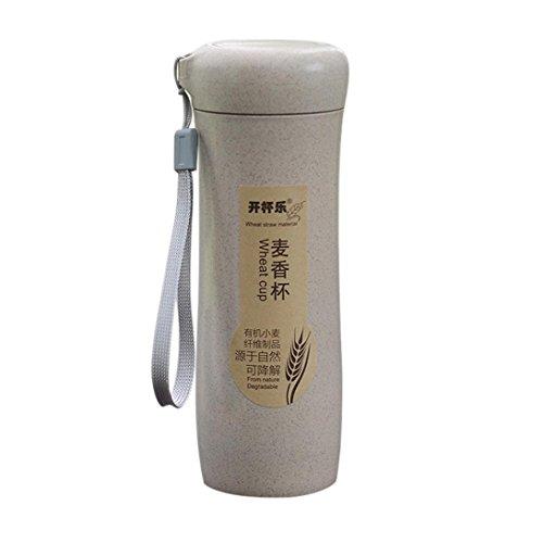 en Stroh Portable Wasserflasche Getränk Container Tasse Reise Tassen hause Reise Picknick Werkzeuge Wasser Tasse Cup Party Favor Geschenk (Beige) ()