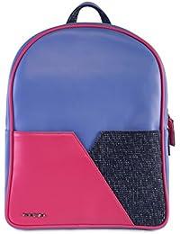 Veuza California Premium Jacquard And Faux Leather Fuschia Blue Backpack