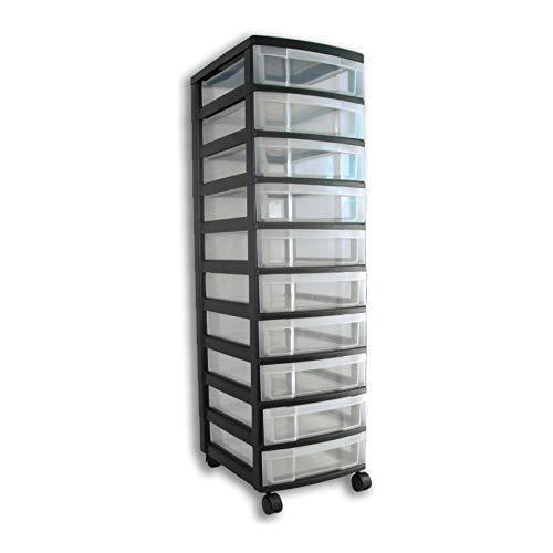 Rollcontainer, Rollwagen, Schubladenschrank, Büroschrank mit 10 Schubladen