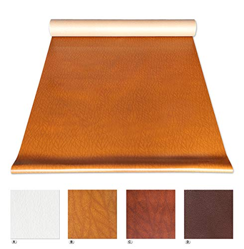 Tessuto ecopelle in piu' colori vendita al metro h140 cm finta pelle per rivestimenti 100% made in italy (marrone (c))