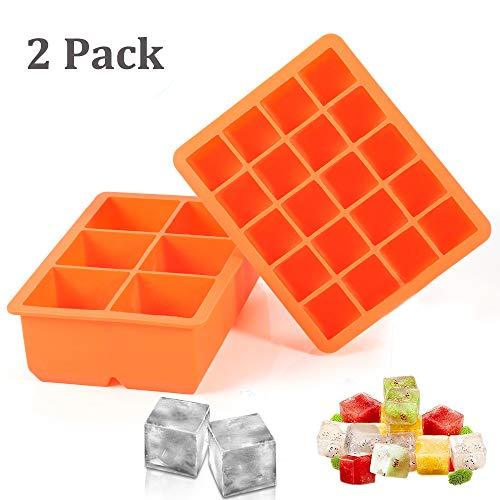 2 Stück Eiswürfelform silikon Eiswürfelbehälter Eiswürfel Silikonformen für Eiswürfel Schokolade Kindernahrung BPA frei, LFGB Zertifiziert Orange -