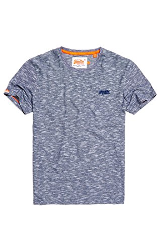 Superdry Herren T-Shirt Orange Label Vintage Emb Tee Multicolore (Beach Blue Feeder Stripe)