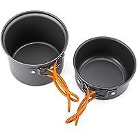 Zhuhaimei,2 Piezas para Acampar al Aire Libre Senderismo Set de Cocina Utensilios de Cocina Antiadherente Pan Pot Bowl Vajilla(Color:Plata)