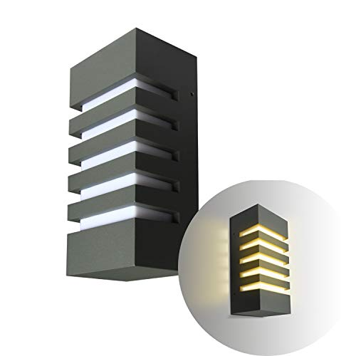 Topmo-plus LED Wandspot Aluminiumm/PC Außenwandlampe ohne Leuchtmittel / E27 Fassung Leuchtmittel nicht inclusive / IP65 Wasserdicht/Garten / Flur 24,5 x 12 x 8 cm grau