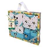 SET Neonato Topolino Mickey Mouse Disney Scarpine, Cappello E 2 Bavaglini in Cotone - Confezione Regalo Bambino - Mic 1401