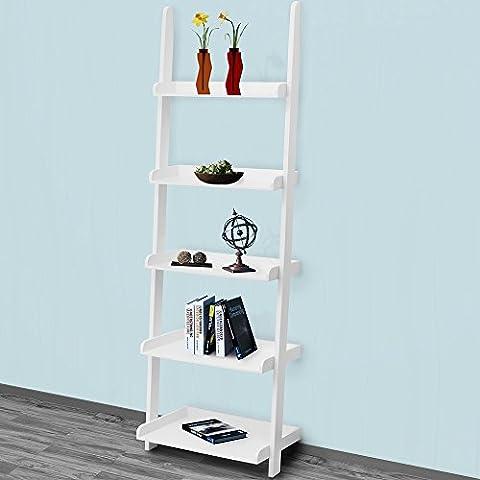 FSC® Certified Ladder Shelf Decorative 5 Tier Wall Rack - White Shelving Storage Unit