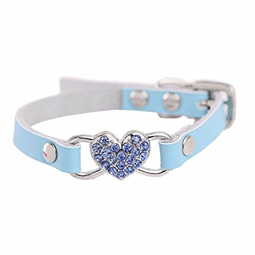 Haustier Halsband erthome Einstellbare Strass Peach Herz Leder Haustier Hundehalsband Umhängeband (XS ( 1.0cm*30cm), Blau) (Halsband Leder Stiefel)