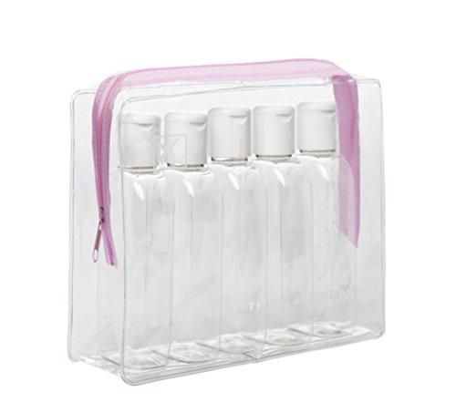 Clair d'avion Vol Voyage Cabine bouteilles 100 ml – Coque transparente + 5 bouteilles – Sécurité Approuvé – Rose