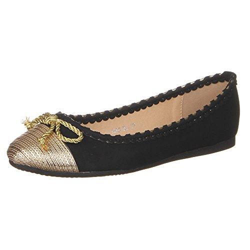 Damen Schuhe, 1053-BL, BALLERINAS Schwarz