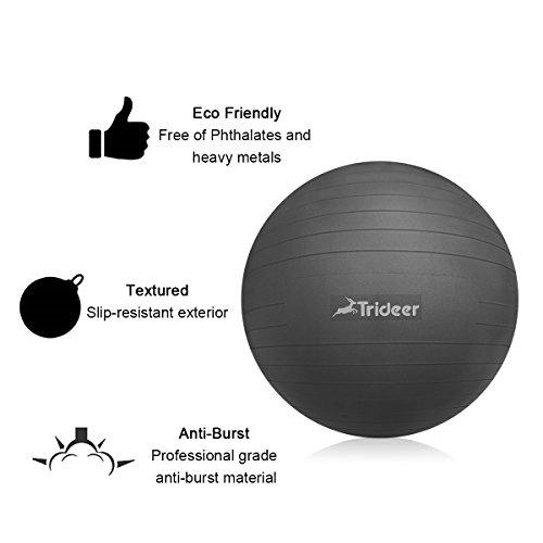 Anti-Burst Gymnastikball von 65cm 75cm mit Ballschale( Aufblasbaren Ring) oder Widerstandsbänder inkl. Ballpumpe, Sitzball Pezziball als Fitness Kleingeräte und Balance Stuhl im Gym-Home-Büro - 4