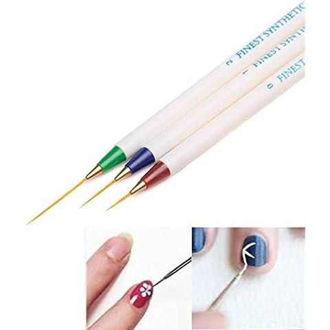 3PCS Nail Art Design, Internet que puntea la pintura del cepillo del dibujo de la pluma