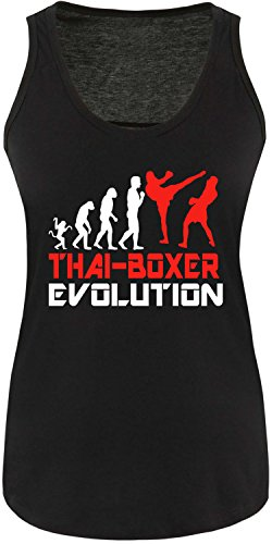 EZYshirt® Thai Boxing Evolution Damen Tanktop Schwarz/Weiss/Rot