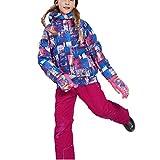 OMSLIFE Jungen Mädchen Kinder Skianzug Skijacke Skihose Regenlatzhose Verdickung Lang Jacket Wintermantel Mantel(Keine Skier) (122/128, Rosa)