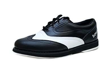 Bowlio Pro Series Strike Classic - Chaussures de bowling en cuir blanc et noir - Adulte et enfant, Pointure:47