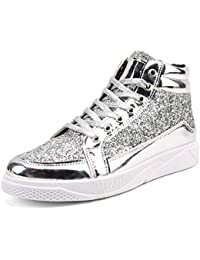 Mens High-top Sneakers Fashion Sequined Ankle Boots Bling Side Zipper Sports  Shoes Young Casual Flat Dancing… 348042fa3dab