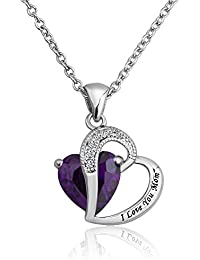 """Pugster Swarovski Element Amethyst Crystal """" I LOVE YOU """" Engraved White Gold Plated Heart Women Pendant Necklace"""