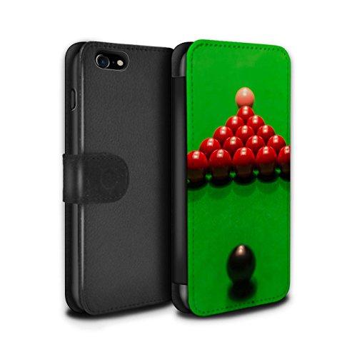 Stuff4 Coque/Etui/Housse Cuir PU Case/Cover pour Apple iPhone 7 / Craie/Poche Design / Snooker Collection Boul Noir/Rack/Rose