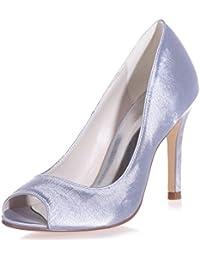 Elobaby Zapatos De Boda De Las Mujeres Satén Peep Toe Prom Evening Toe Kitten/35-42 Talla/9 Talón